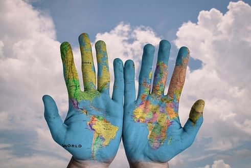 World map on hands